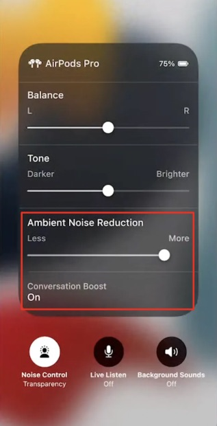 enable airpods pro conversation boost