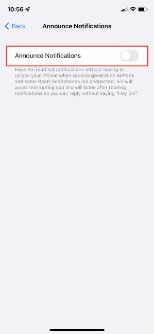 Aktivieren Sie das Umschalten von Ankündigungsbenachrichtigungen im iPhone
