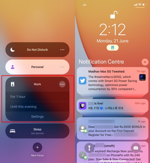 focus mode on lock screen in ios 15 2 - What is Focus Mode and How to Use It in iOS 15