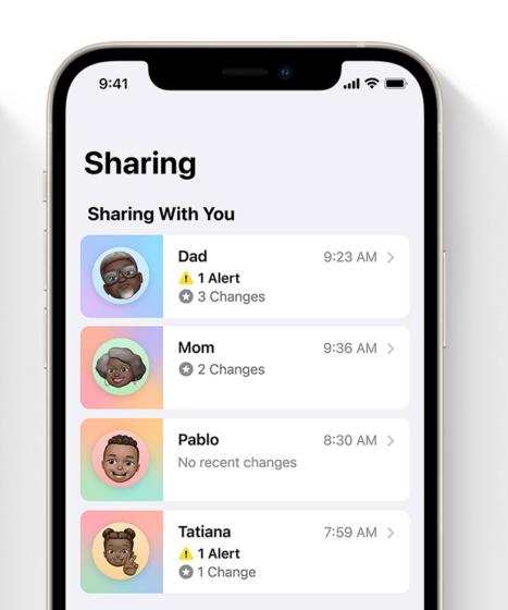 health sharing in iOS 15 - family members