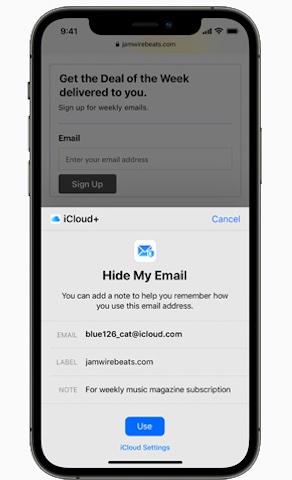iCloud+ Hide My Email -