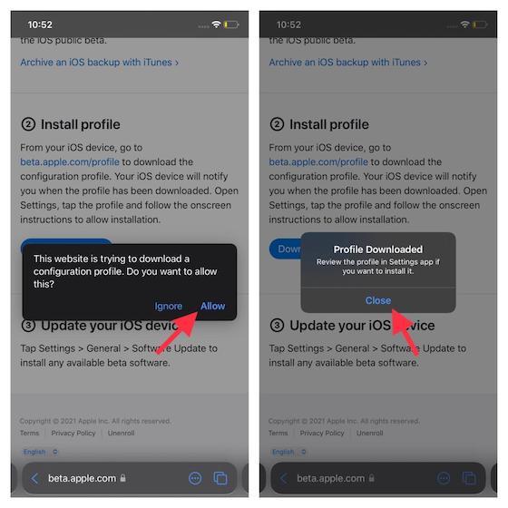 iOS 15 beta profile downloaded