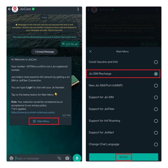 jio sim recharge whatsapp chatbot