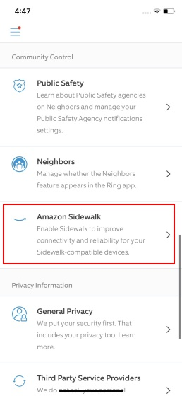 opt out of amazon sidewalk - ring app