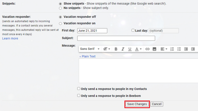 save changes gmail
