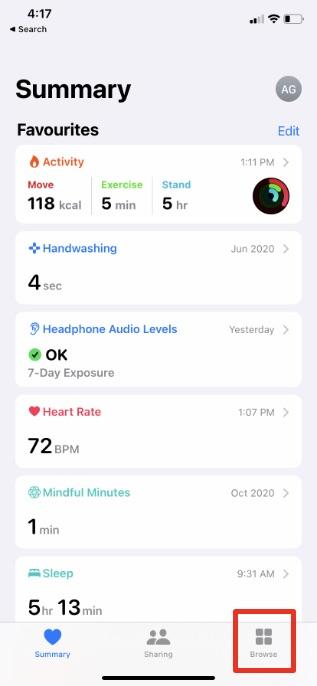 Tippen Sie in der Gesundheits-App auf die Schaltfläche zum Durchsuchen