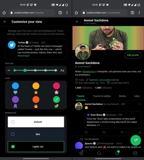 twitter color themes - free