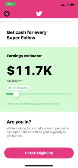 twitter super followers revenue estimate