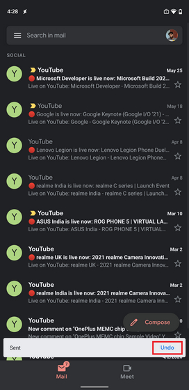 Recall Email in Gmail app