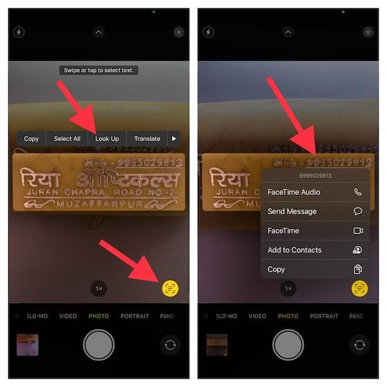 Live-Text in der Kamera-App verwenden