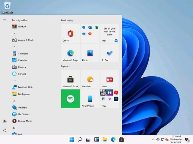 Windows 10 Startmenü mit Live-Kacheln unter Windows 11