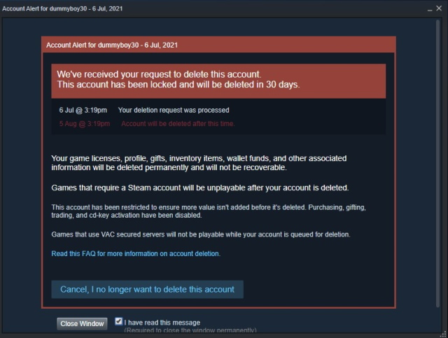 steam account delete acknowledgement