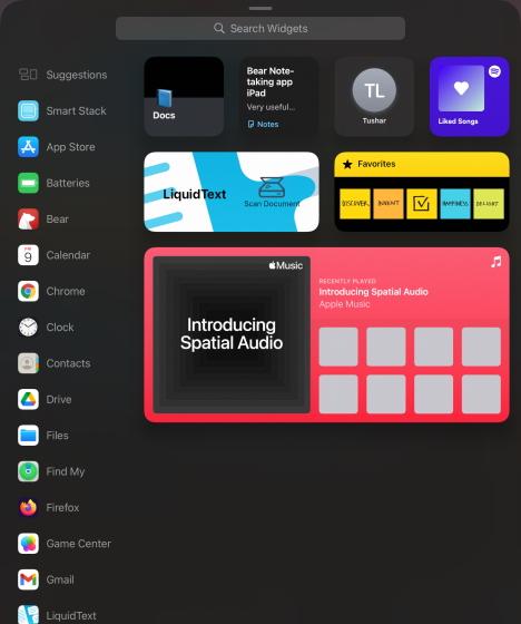 ipad widget search - ipados 15 widgets on iPad
