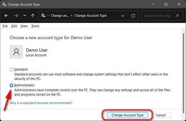 Change Account Type From Standard to Administrator via Control Panel in Windows 11