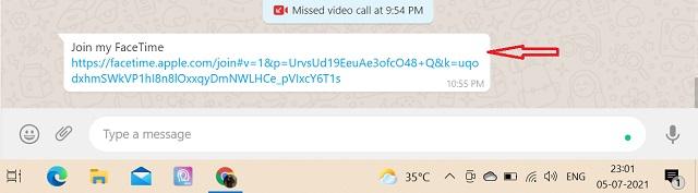 انقر على رابط مكالمات FaceTime