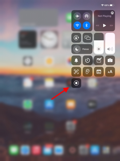 Control center on home screen