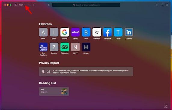 Downward arrow - install Safari Browser on macOS Big Sur