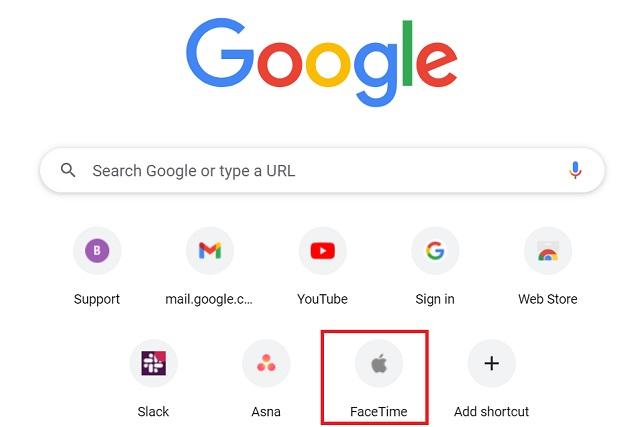 اختصار FaceTime على صفحة Chrome الرئيسية