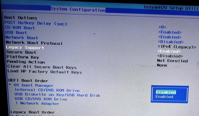 Ändern Sie den Legacy-Modus in der BIOS-Firmware auf UEFI