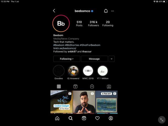 Instagram in landscape mode in iPadOS 15 - new feature
