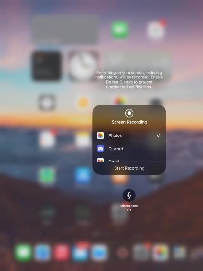 mic options screen record on iPad