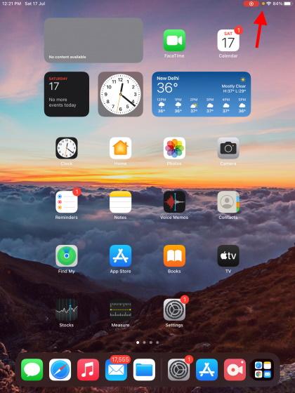 Orange indicator screen record on iPad