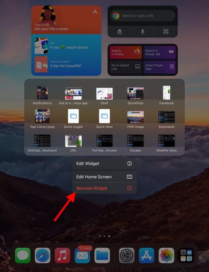 remove ipad widget