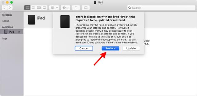 Restore disabled iPad