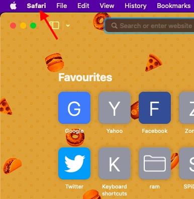 Safari menu