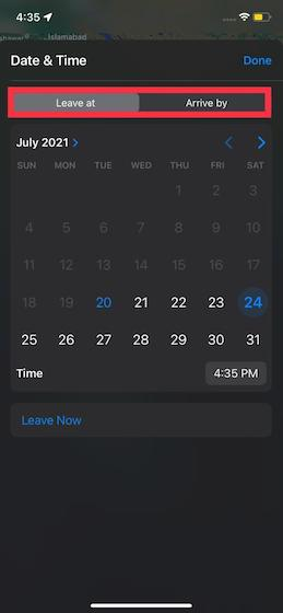 How to Set Leaving and Arrival Times in Apple Maps