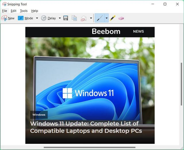 Snipping Tool: Built-in Windows Utility to Edit and Annotate Screenshots