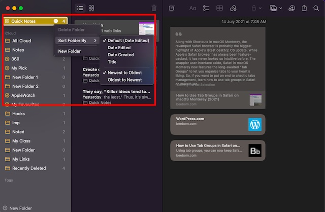 Sort Your quick notes on Mac