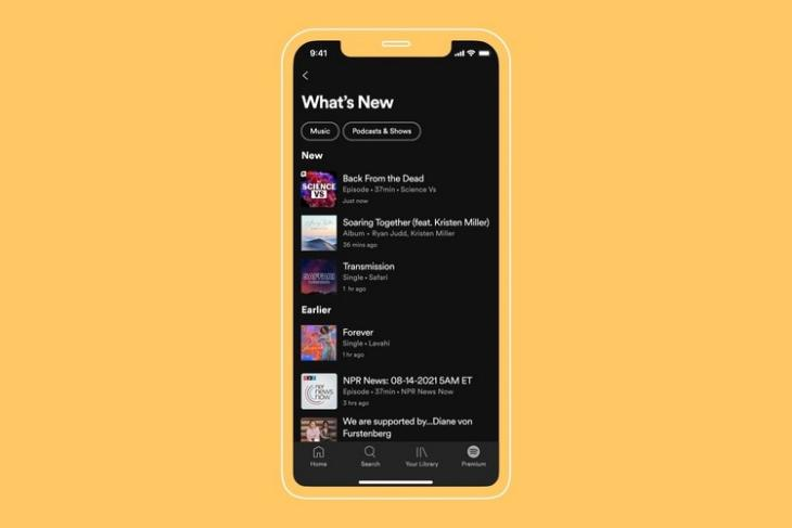 """Spotify's """"What's New"""" Feed Notifies Users About New Releases"""