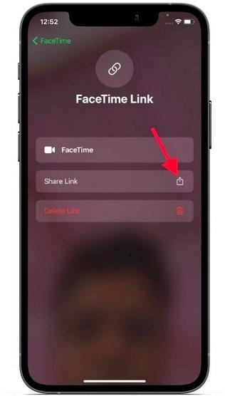 اضغط على خيار-Share-Link-استخدام FaceTime على جهاز كمبيوتر