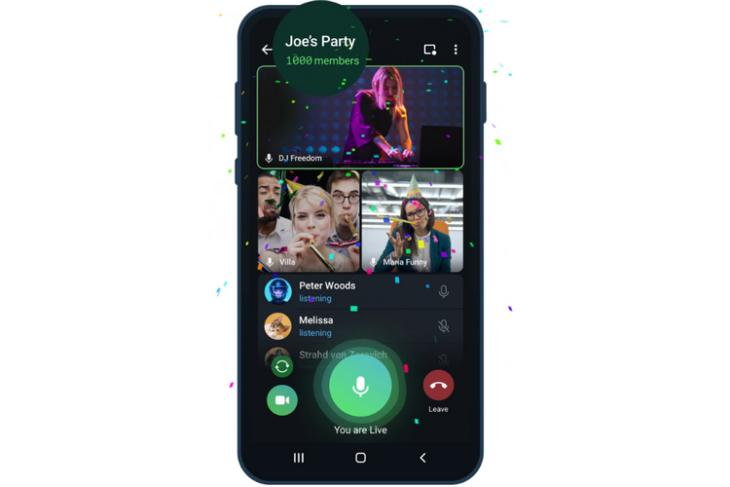 Telegram Update Adds Group Calls with 1000 Viewers, Video Playback Speed Controls, and More