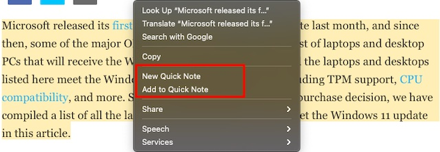 Time to add Safari text to Quick Note