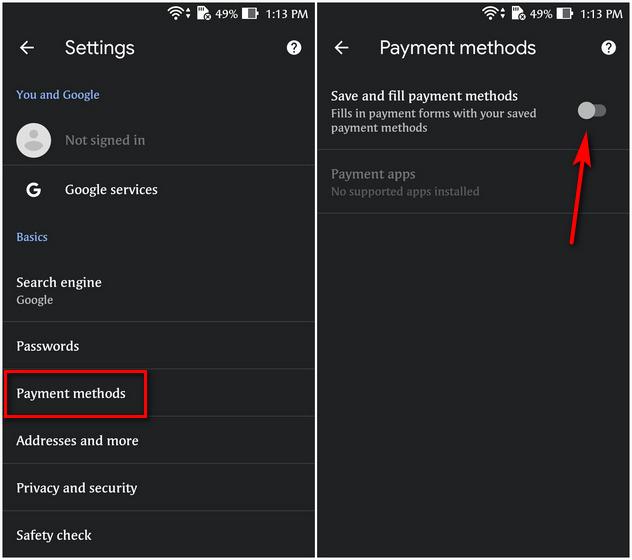 Deaktivieren oder deaktivieren Sie AutoFill in Google Chrome