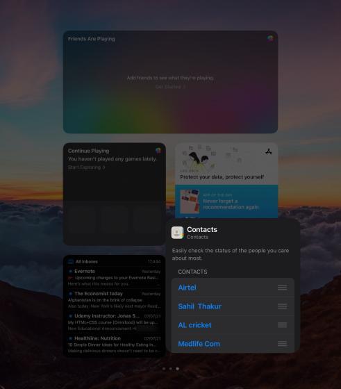 Edit ipad widgets