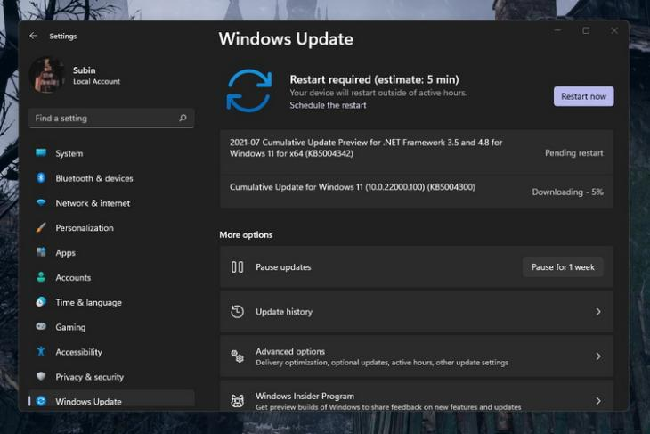 Windows 11 Insider Preview Build 22000.100