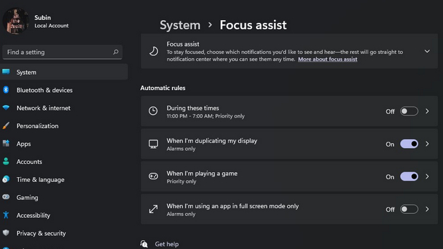 automatic rules for focus assist