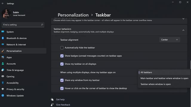 change taskbar placement windows 11