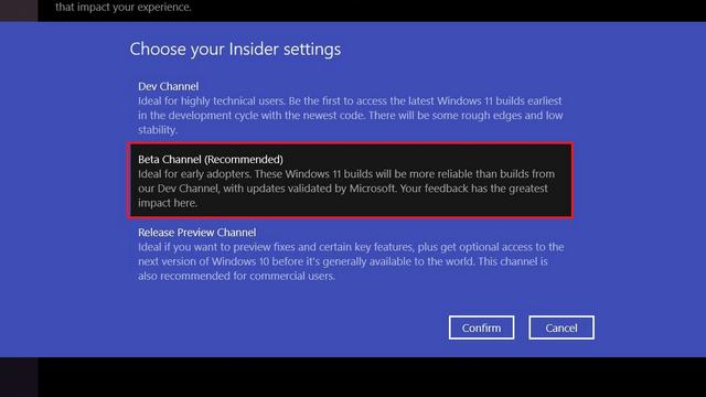 choose insider channel - Install Windows 11 Beta