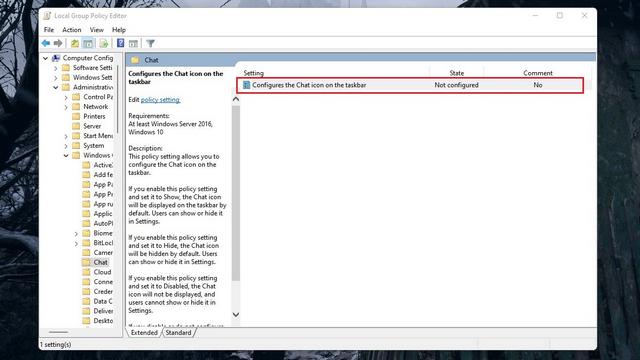 Chat-Symbol in der Taskleiste konfigurieren