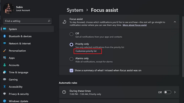 customize priority list w11