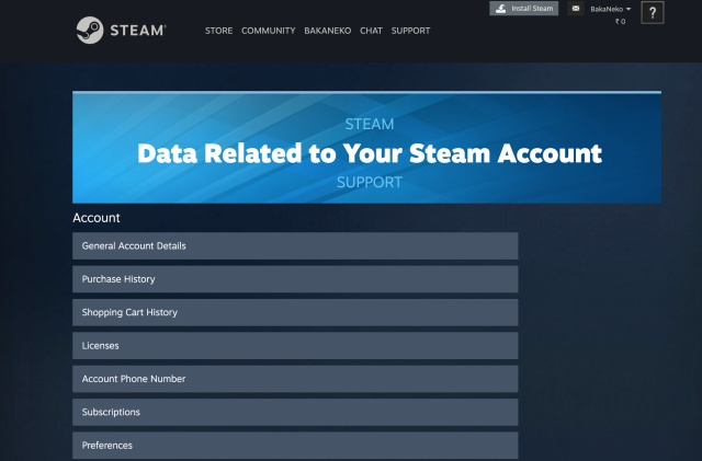 data related to your steam account