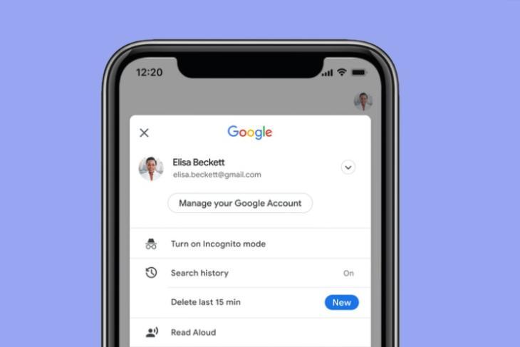 delete last 15 minutes of google search history