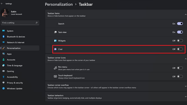 Deaktivieren Sie den Chat in den Windows 11-Einstellungen