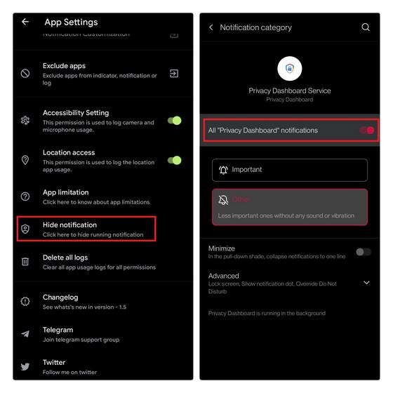 Datenschutz-Dashboard für Benachrichtigungen deaktivieren
