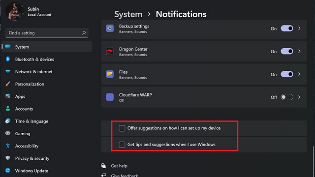 disable suggestions to Turn Off Notifications Windows 11