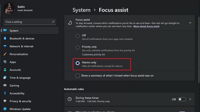 enable focus assist win11